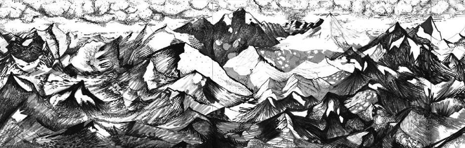 gewoon bergen: collaboration with Liesbeth De Stercke — a drawing of a mountain landscape enlarged and pasted at Sphinx cinema café for 'De Witte Muur'
